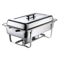 Browne Foodservice HL725A Chafer Rectangular Full Size Includes Welded Frame Water Pan Cover Fuel Holder Stainless Steel Priced Each Purchased in Cases of 4